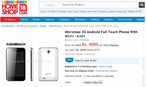 Micromax A101: Unannounced 3G Android Full Touch Phone With Wi-Fi Listed on HomeShop18 at Rs 9,999