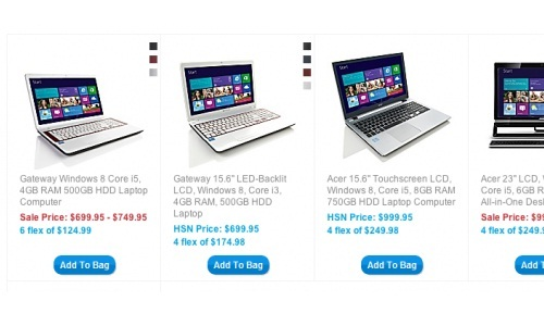 Windows 8 laptops listed for sale in HSN website