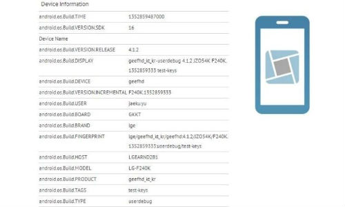LG F240K Android 4.1 Jelly Bean Smartphone Leaks in Benchmarks Revealing 1080p HD Display