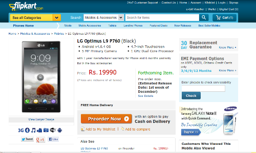 LG Optimus L9 up for Pre Order on Flipkart at Rs 19,990: Will You Buy It?
