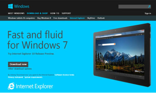 Microsoft: Internet Explorer 10 Preview Released for Windows 7 Users