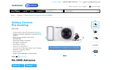 Samsung Galaxy Camera Up For Pre Order in India Starting Today; Is Galaxy S3 Mini Also Coming Soon?