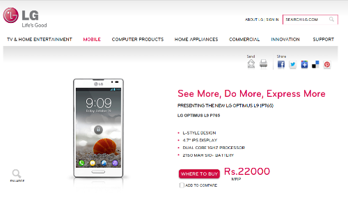 LG Optimus L9: HTC Desire SV Competitor Unleashed With 4.7 inch qHD IPS Display and 2,150 mAh Li-ion Battery at Rs 22,000