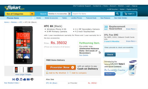 HTC 8X Windows Phone 8 Smartphone up for Pre Order for Rs 35,032 on Flipkart