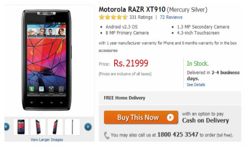 Motorola Razr and Atrix 2 Receive a Price Cut, Available on Flipkart at Rs 21,199 and Rs 17,199