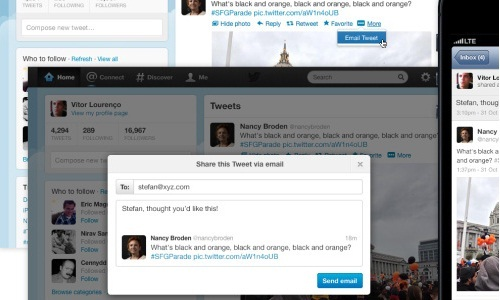Twitter Brings Email Button to Share Tweets on the Web