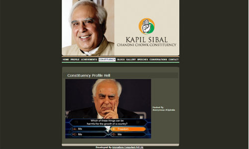 Anonymous India hacks Kapil Sibal's website