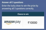 Amazon Quiz Contest Answers For April 12, 2021: Win Rs. 10,000 Amazon Pay Balance