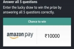 Amazon Quiz Contest Answers For April 15, 2021: Win Rs. 10,000 Amazon Pay Balance
