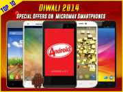 Diwali 2014 Special Offers: Top 10 Micromax Android KitKat Smartphones with Heavy Discounts