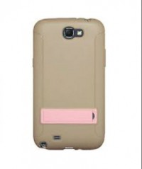 Amzer TPU Skin Case with Kickstand Taupe for Samsung Galaxy Note 2 GT N7100 (Grey)
