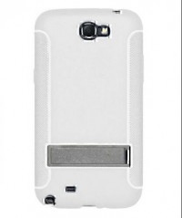 Amzer TPU Skin Case with Kickstand White for Samsung Galaxy Note 2 GT N7100 (White)