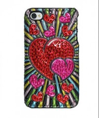 Amzer 3D Metallic Snap On Case for iPHone 4 (Red Hearts)