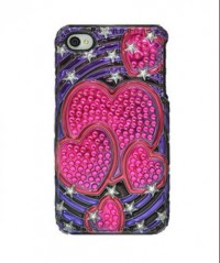 Amzer 3D Metallic Snap On Case for iPHone 4 (Pink Hearts)
