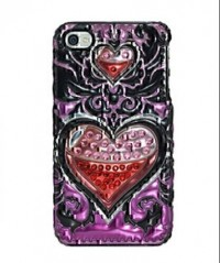 Amzer 3D Metallic Snap On Case for iPHone 4 (Hearts Desire)