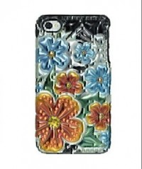 Amzer 3D Metallic Snap On Case for iPHone 4 (Orange Florals)