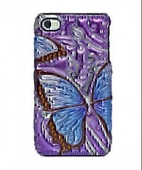Amzer 3D Metallic Snap On Case for iPHone 4 (Blue Butterfly)