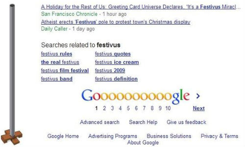 Google Festivus: Christmas Easter Egg Shows Image of Aluminum Pole