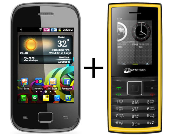 Micromax Combo : Micromax A25 + Micromax X101 Mobile Phones