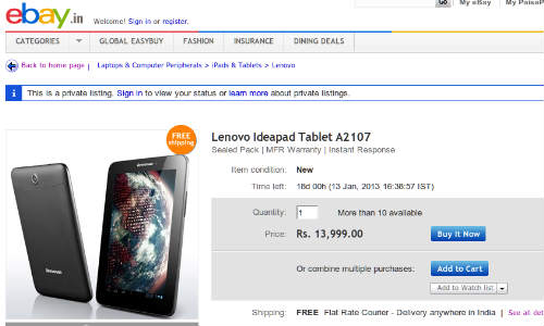 Lenovo IdeaTab A2107 Spotted on eBay.in at Rs 13,999