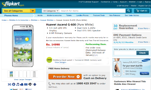 Huawei Ascend G600 Arrives in India, Pre Order Up for Rs 14,990