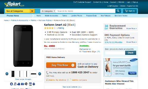 Karbonn Smart A2 Spotted at Flipkart for Rs 4,990: Will You Buy It?