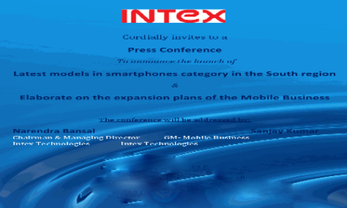 Intex to Unveil Two Budget Android Smartphones Today, Sends Out Invite