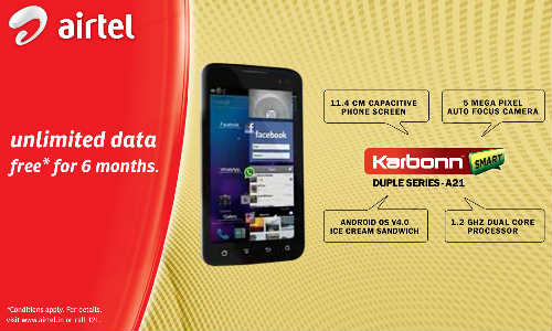 Karbonn Mobiles, Airtel Join hands, Offer A9+, A15, A21 and A30