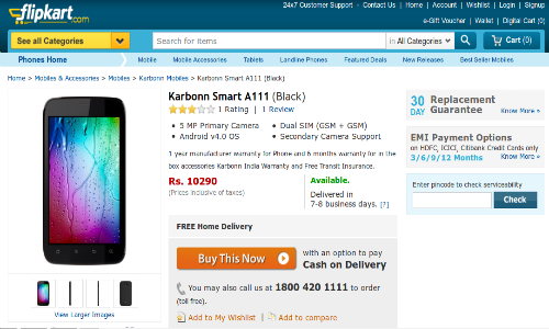Karbonn Smart A111: Spice Mi-530 5 Inch Rival Spotted Online at Rs 10K