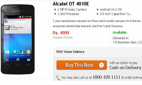 Alcatel OT 4010E, 4005D: Cheapest Jelly Bean Handsets at Rs 5000