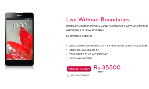 Optimus G Appears on LG India Official Site at Rs 35500
