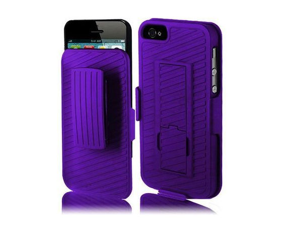 iPhone 5 Purple Rigid Holster With Belt Clip Stand Cover Case Accessory
