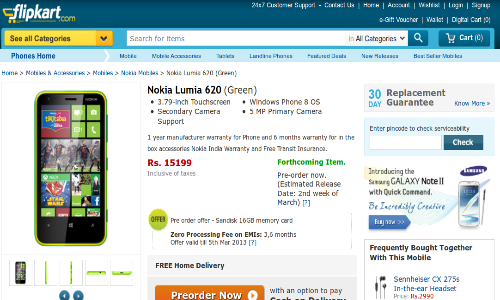 Nokia Lumia 620 Online Pre Order Begins in India at Rs 15199