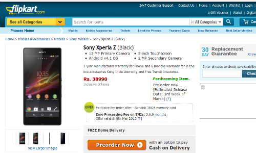 Sony Xperia Z, ZL India Launch: Spotted Online for Pre Order