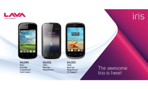 Iris 349, 351, 355: Lava Launches Three Dual SIM Android Smartpones