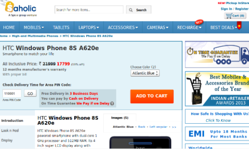 HTC 8S Online Price Drops to Rs 17799 After Nokia Lumia 620 Release
