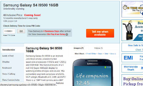 Samsung Galaxy S4 Listed by Saholic India, Due Out May 15