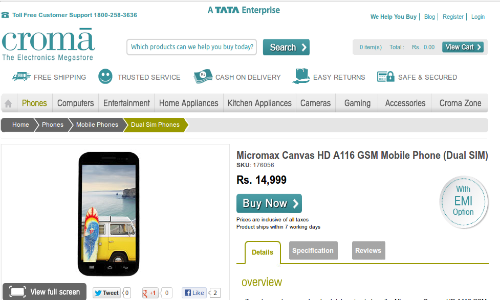 Micromax Canvas HD Appears on Croma Online Store at Rs 14999
