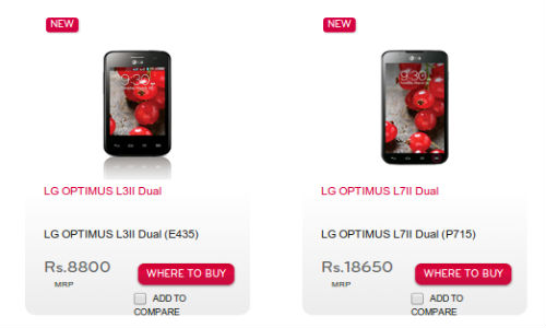 LG Optimus L3 2, L7 2 Get Listed Online at Rs 8800 and Rs 14990