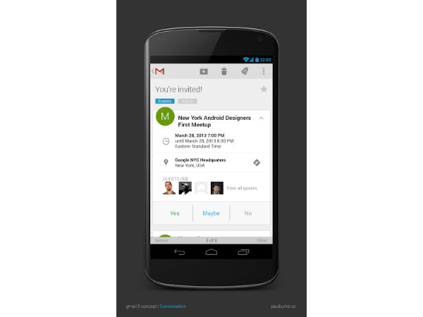 Gmail 5 for Android Concept