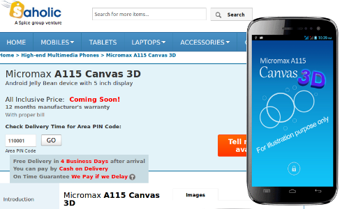Micromax A115 Canvas 3D Listed on Saholic, Full Specs Sheet Leaked