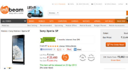 Xperia SP up for Pre Order on Infibeam at Rs 25490