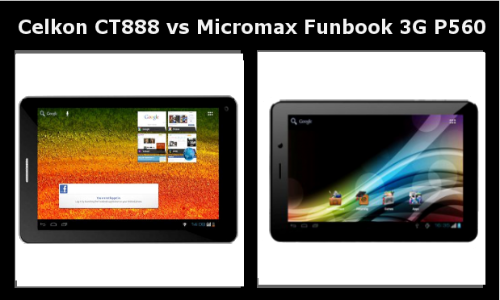 Celkon CT 888 vs Micromax Funbook 3G P560: Which 3G Tablet is Better?
