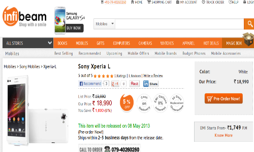 Sony Xperia L Up for Pre Order at Rs 18990 to Threaten Lumia 720