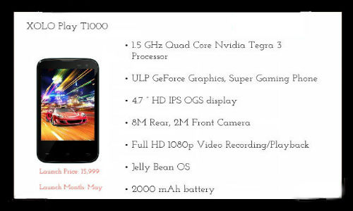 Xolo Play T1000 With Tegra 3 Quad-Core Processor Set for Launch in May