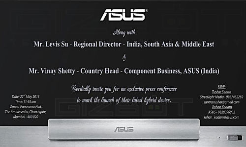 Asus Transformers AIO Hybrid Set For Launch in India on May 22