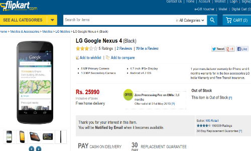 Nexus 4 Spotted on Flipkart at Rs 25990: All Set for India Debut