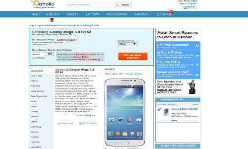 Samsung Galaxy Mega 5.8 Dual SIM Spotted Online On Saholic in India