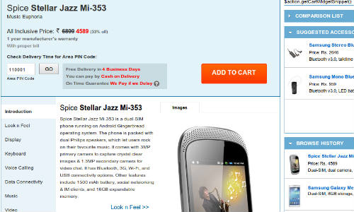 Spice Stellar Jazz Mi-353 Launched Online at Rs.  4589