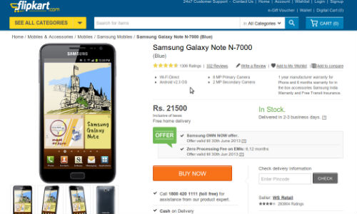 Samsung Offers Rs. 10000 Cashback On Galaxy Note 2